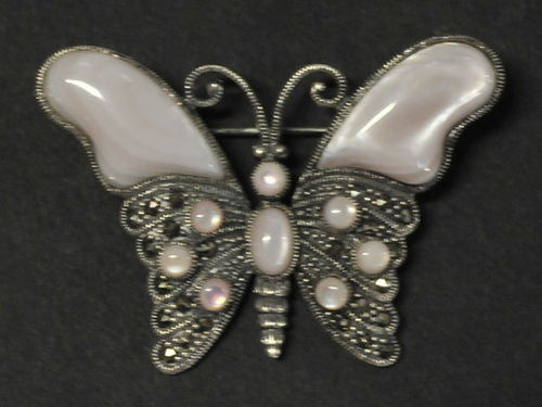 Butterfly Brooch | Period: New | Material: Mother of Pearl, sterling silver and marcasite