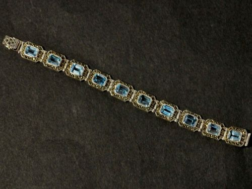 Bracelet | Period: New | Material: Blue Topaz,Marcasite & sterling silver