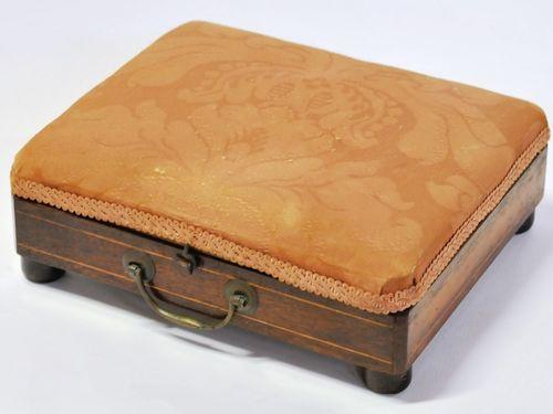 Georgian Foot Warmer   Period: Georgian c1830   Material: Inlaid walnut with copper hot-water insert