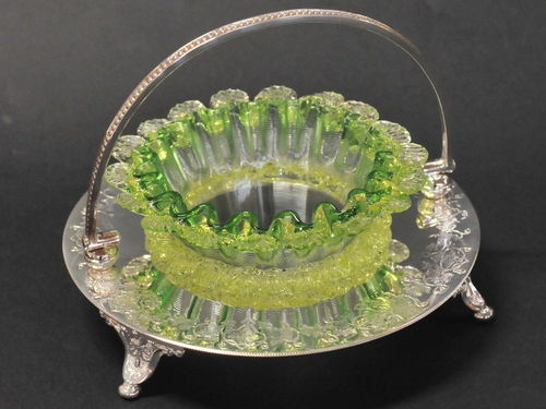 Uranium Glass Dish on Stand | Period: Victorian c1880 | Make: Made for A. Saunders, Sydney | Material: Uranium glass and engraved  EPNS.