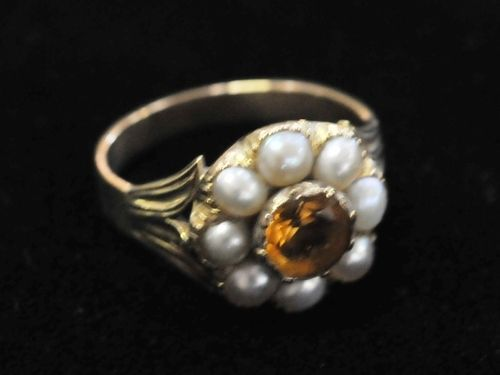 Citrine & Pearl Ring | Period: Victorian c1850 | Make: Handmade | Material: 18ct Gold, Citrine & Seed Pearls