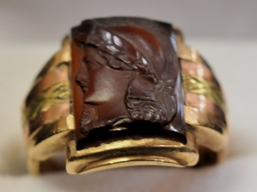 Carved Sard Ring | Period: c1945 | Make: Cast and Handmade | Material: 10ct rose and yellow gold set with carved sard.