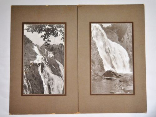 Photograph - 2 views of Barron Falls | Period: 1920's | Make: Soho Studio, Brisbane | Material: Sepia photograph on board. | 2 views of Barron Falls, North Queensland.