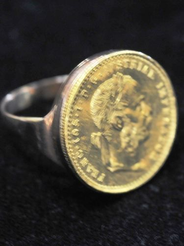 French Coin Ring | Period: c1950s | Make: Handmade | Material: 14ct gold with French gold coin.