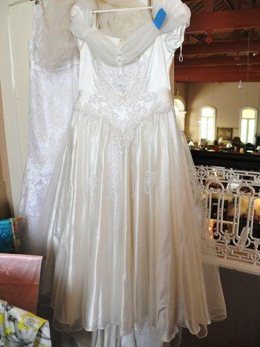 Wedding Dress and Veil | Period: c1980s | Material: Satin, beaded brocade