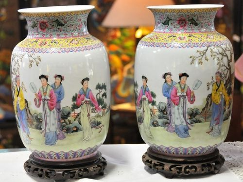 Pair Oriental Vases   Period: Post Qing. Early 20thC   Material: Porcelain