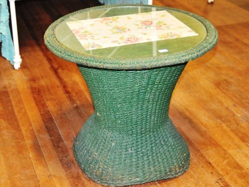 Seagrass Occasional Table | Period: Edwardian | Material: Green painted seagrass.