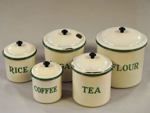 Set Enamel Canisters | Period: c1950s | Material: Enamelled metal