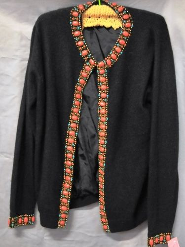 Beaded Cardigan | Period: c1960s | Make: D.G. | Material: Black lambswool & angora blend