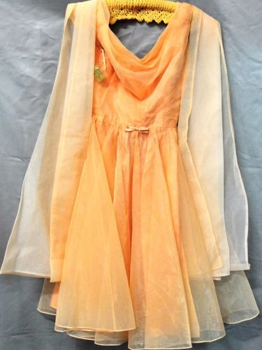 Peach Party Dress | Period: c1950s | Make: Coral Lea | Material: Nylon overlay with satin petticoat