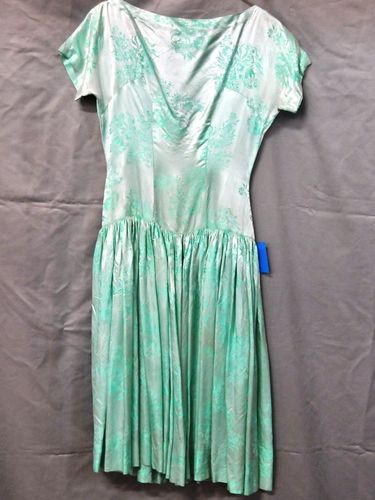 Party Dress | Period: c1950s | Make: Handmade | Material: Green Satin