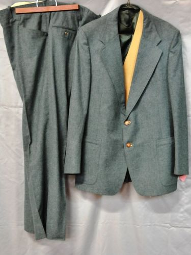 3 Piece Suit | Period: c1970s | Make: Nowaks | Material: Kelly Green pure wool.