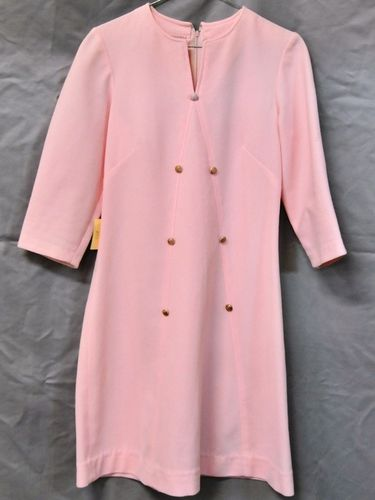 Dress | Period: c1960s | Make: Handmade | Material: Pink polyester crimpelene