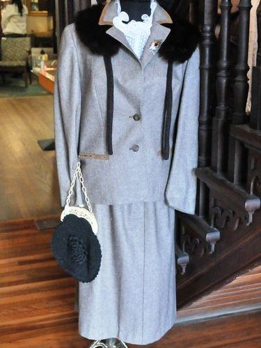 Winter Jacket & Skirt Ensemble | Period: 1950s | Make: Handmade | Material: Wool Blend