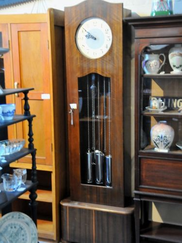 Long Case Grandfather Clock | Period: Deco c 1950s | Make: Enfield | Material: Walnut veneer.