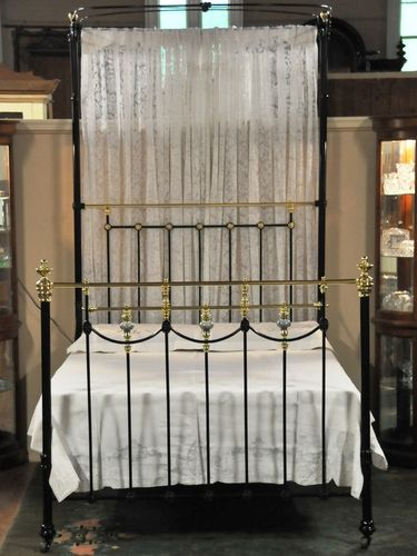 Antique Brass & Iron Bed | Period: Prior WW1 | Material: Brass, Iron & Porcelain