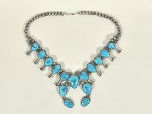Navajo Necklace | Period: c1970 | Make: Native American | Material: Silver & turquoise