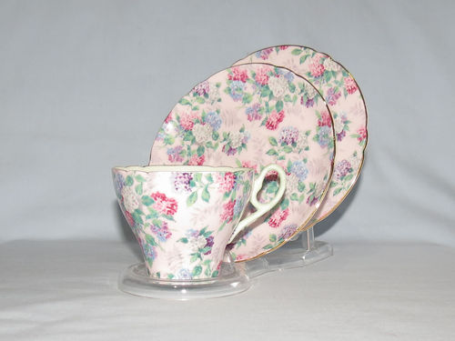 Shelley Summer Glory trio | Period: 1950's | Make: Shelley | Material: Porcelain | Shelley Summer Glory trio, Cambridge shape