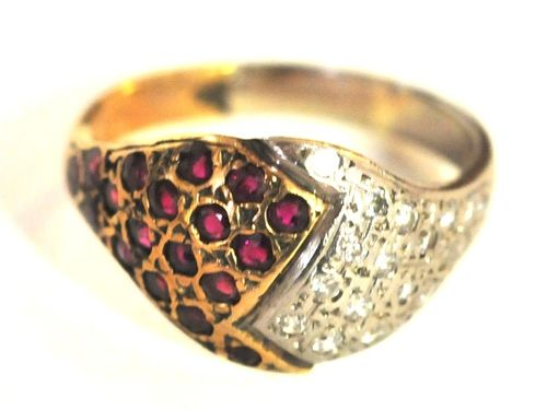 Ruby & Diamond Ring | Period: c1960 | Make: Handmade | Material: 18ct. Gold, Diamond & Ruby