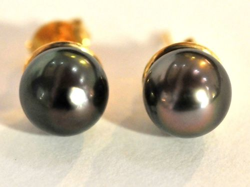 Tahitian Pearl Earrings | Period: c1990 | Make: Hand Crafted | Material: 18ct. Gold and Tahitian black pearls