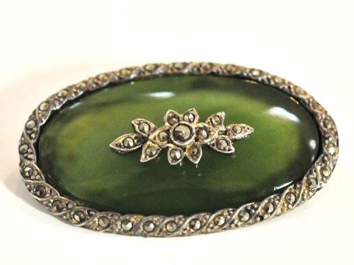 Nephrite Jade & Marcasite Brooch | Period: c1935 | Make: Handmade | Material: Sterling Silver, Nephrite Jade & Marcasite