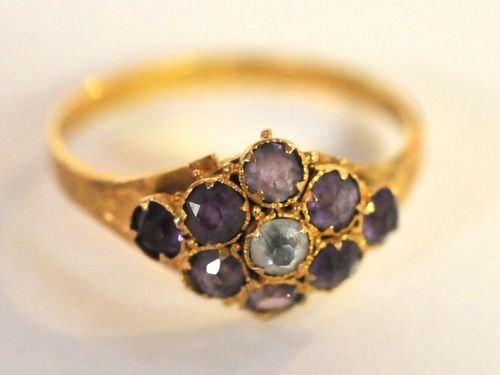 Amethyst & White Quartz Ring | Period: 1922 | Make: Handmade, Birmingham 1922 | Material: 15ct. Gold, Amethyst & White Quartz.