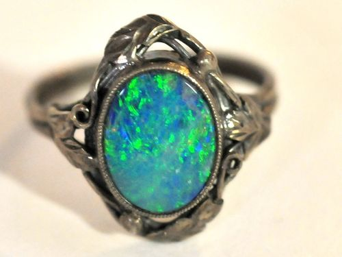 Opal Set Silver Ring | Period: c1930 | Make: Prob. Rhoda Wager | Material: Silver & Solid Opal