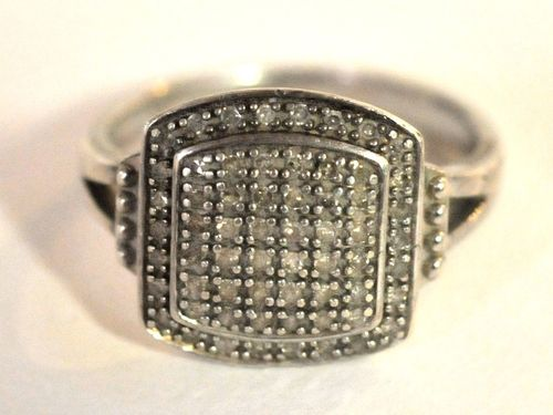 Diamond Ring Silver Set | Period: c1980 | Make: Handmade | Material: Sterling Silver & Diamonds