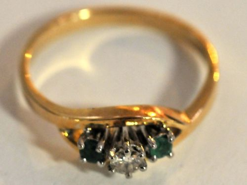 Emerald & Diamond Palladium Ring | Period: c1970s | Make: Handmade | Material: 18ct Gold, Diamond & Emeralds