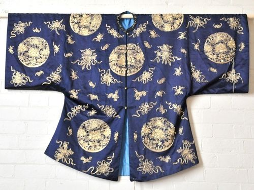 Kimono | Period: c1920 | Material: Japanese silk and gold thread | Hand Stitched Japanese Silk Kimono