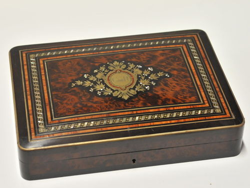 Inlaid Box | Period: 19th century | Material: Timber, brass and mother-of-pearl