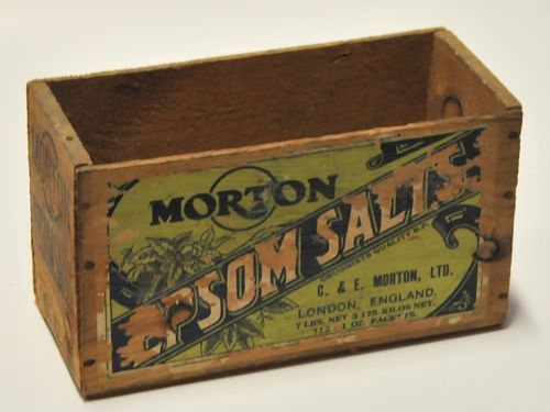 Morton Epson Salts Box | Period: 1920s | Make: C & E Morton Ltd | Material: Timber-paper label