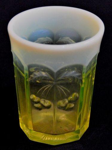 Uranium Vaseline Glass Vase | Period: Edwardian 1910 | Material: Opalescent Vaseline/ Citrine Glass