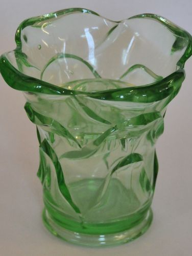 Green Depression Glass vase | Period: c1930 | Material: Green Glass
