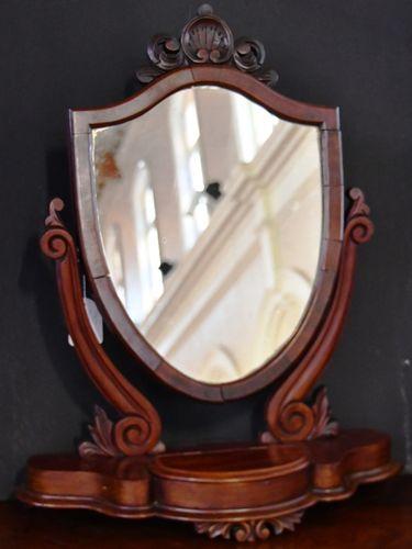 Shield Toilet Mirror | Period: Victorian c1870 | Material: Mahogany