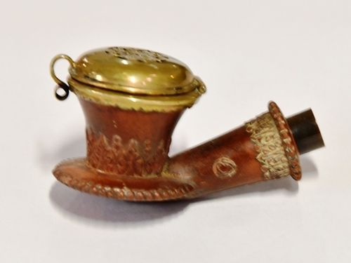 Smoking Pipe Bowl | Period: c 1920s | Material: Carved wood/ brass cap