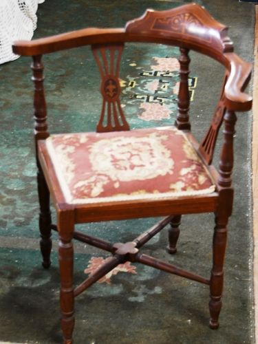 Inlaid Corner Chair | Period: Victorian c1890 | Material: Inlaid Walnut