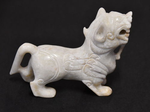 White Jade Lion | Period: Vintage- early 20th C. | Material: White (mutton fat) Jade