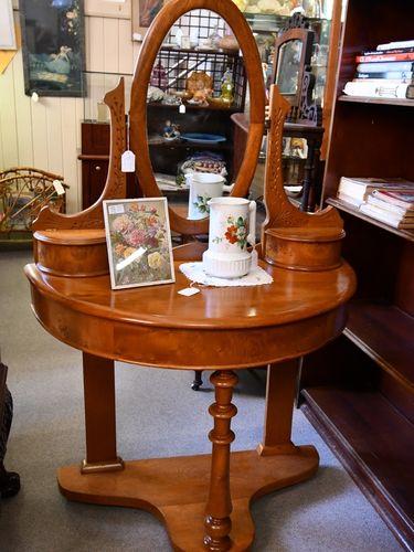 Biedermeier Style Dressing Table   Period: Victorian c1900   Material: Possibly birdseye elm