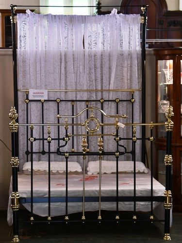 Queen Size Brass & Iron Bed | Period: c1890s | Material: Brass, Iron & Porcelain