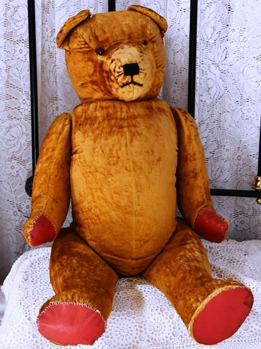 Glass Eye Teddy Bear | Period: c1940s | Material: Plush-straw filled