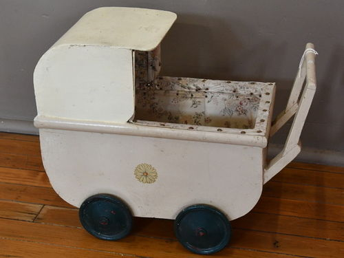 Dolls Pram | Period: c1960s | Make: Handmade | Material: White painted timbers