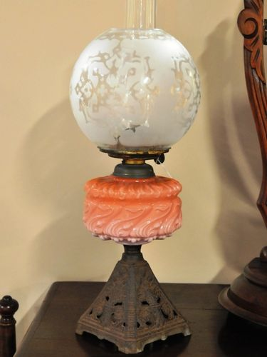 Oil Table Lamp   Period: Victorian   Material: Glass and cast iron