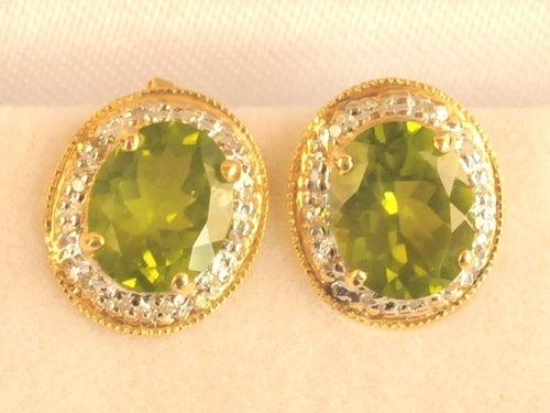 Peridot & Diamond Earrings | Period: New | Material: 14ct. gold, diamond and peridot