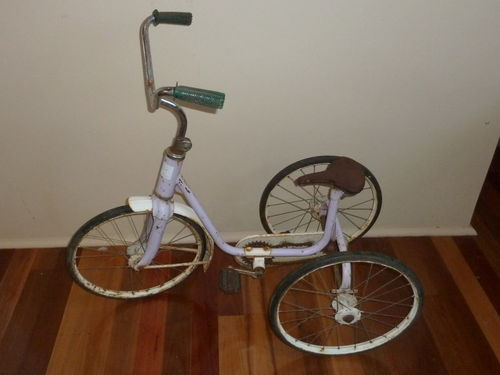Child's Tricycle | Period: Vintage | Material: Steel & Tin; Solid rubber tyres | Tricycle - note pedals drive rear wheels not front wheel as is usual