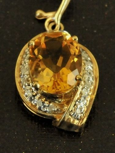 Citrine & Diamond Enhancer | Period: New | Material: 14ct. gold, citrine and diamonds