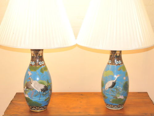 Pair Cloisonne Lamps | Period: c1890 | Material: Cloisonne