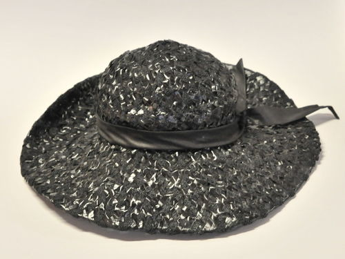 Ladies Hat | Period: c1955 | Material: Black straw with ribbon
