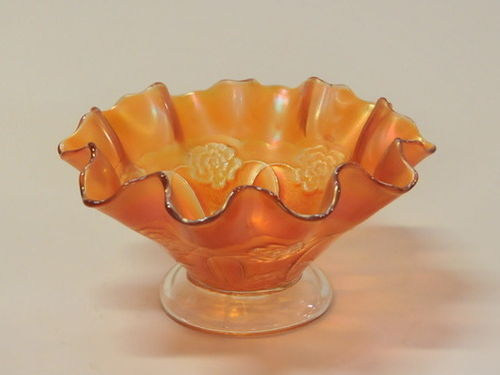 Carnival Glass Footed Bowl | Period: c1935 | Material: Marigold carnival glass