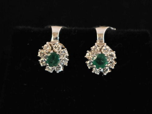 Emerald & Diamond Earrings | Period: c1930 | Material: 18ct white gold, emerald and diamond